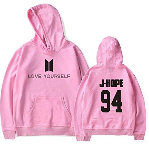 SIMYJOY Lovers Pullover BTS Felpe Hip Hop Love Yourself Felpa KPOP Felpa Top per Uomo Donna Adolescente rosa J-hope 94