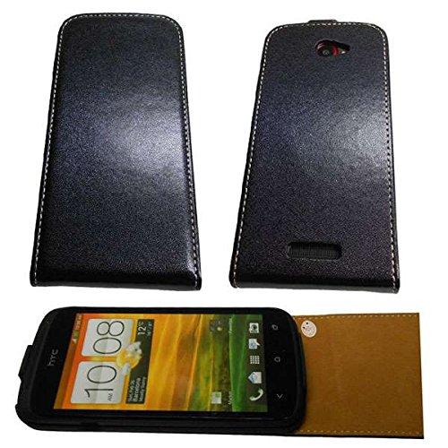 caseroxx Handyhülle mit Flip-Cover für HTC One S, Schutzhülle für das Smartphone Flipcase (Handytasche klappbar in schwarz)