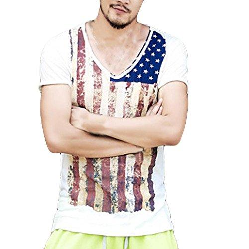 T-Shirt Herren Hffan Mode Sommer tops Persönlichkeit Flagge Männer Kurzarm O-Neck Slim Fit Kurzarmhemd Sommer-Oberteile Hemd Freizeit Hemd Modern Rundhals Bluse Muskelshirt Bluse (Weiß, 2XL)