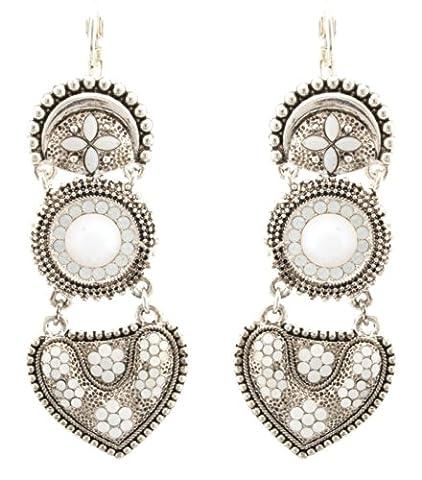 Zest Swarovski Crystal Moonstone Heart Drop Pierced Earrings Leverback White