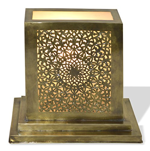 Lampara de mesa marroqui, rectangular, de latón antiguo de cobre sólido, perforada a mano y aserrada - Longitud: 25cm Altura: 23cm Diametro: 13cm