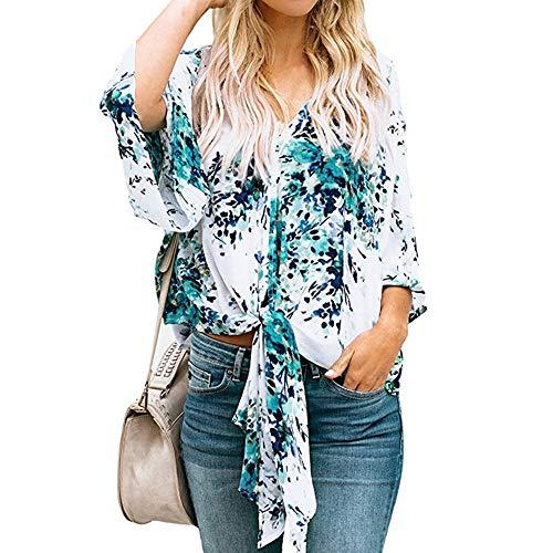 feiXIANG Damen Hemd Blumendruck Womens Bluse Tops V-Ausschnitt Verband Mode T-Shirt kostüm Sommer ()