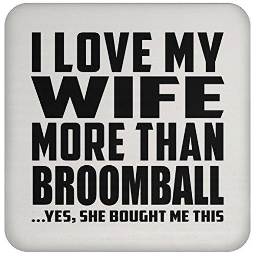 Designsify I Love My Wife More Than Broomball - Drink Coaster Untersetzer für Babys, aus Kork - Geschenk zum Geburtstag, Jahrestag, Muttertag, Vatertag, Ostern