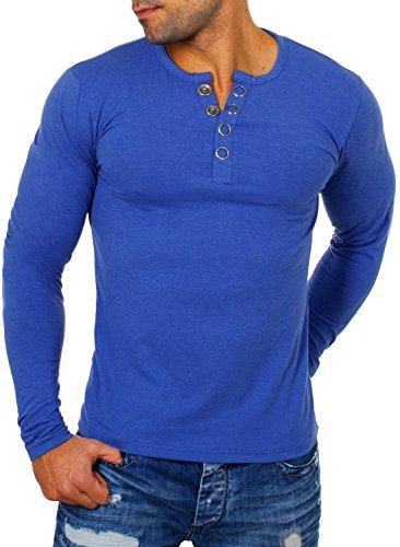 Young & Rich Herren Longsleeve Langarm T-Shirt Knopfleiste mit Extra Großen Metall Knöpfen Slimfit Big Buttons 2872, Grösse:M;Farbe:Blau-Melange