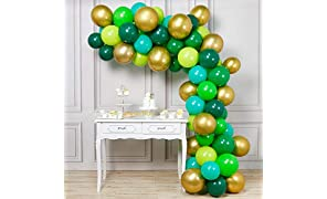 PartyWoo Green Balloons, 70 Pcs 12 Inch Lime Balloons Emerald Green Balloons Lime Green Emerald Green Balloons Dark Green Green Party Decorations, Green Birthday Decorations, Reptile Party Decorations