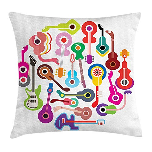 WITHY Guitar Throw Pillow Cushion Cover, Bowed String Instruments Acoustic and Electronic Guitars Banjo Mandolin Ukulele, Decorative Square Accent Pillow Case, 18 X 18 Inches, Multicolor