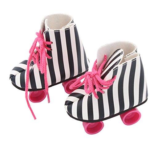 Stripe Doll Roller Skates HKFV For 18 Zoll American Girl Puppe Leopard Schuhe Rollschuhe (Schwarz und Weiß)