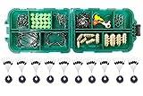 83pcs Pesca Accesorios Kit para Texas Rig, Incluyendo Bullet Sinker, Gancho, Cuchara, Ganchos Keeper, Snap Gira, Split Ring, Perlas, Set de Aparejos de Pesca con Caja de Aparejos para Rock mar Pesca
