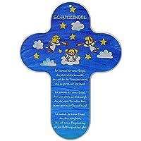 Kaltner Präsente Geschenkidee - Kinderkreuz Kreuz für das Kinderzimmer Schutzengel Engel Echtholz Natur Buche mit Buntdruck (Höhe 20 cm)