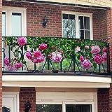Gärtner Pötschke Balkon-Sichtschutz Rosa Rosen 250 x 80 cm