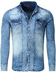 Tazzio - Chemise fashion en jeans Chemise TZ607 bleu - Bleu