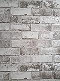 Debona, carta da parati. Motivo a muro di mattoni. Effetto finto muro di mattoni metallizzato.