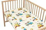 Hunde in der LKW und Baggerschaufel - Pati'Chou 100% Baumwolle Spannbetttuch für Kinderbetten und Babybetten (2 Stück 60 x 120 cm)