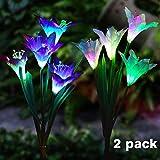 flintronic paletto da giardino a energia solare, 2 Pezzi Set di Lampada Solare da Giardino, Lily fiore luci LED che cambia 7 colore decorazione di luci a energia solare per patio, cortile