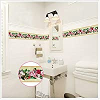 Cenefa de pared autoadhesiva bouquet floral ideal dormitorio, escaleras, baños, cocinas, lofts
