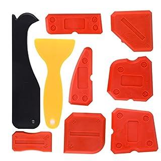 Kuuqa 9 Pieces Silicone Sealant Finishing Tools Smoothing Caulking Tool Kit for Kitchen Bathroom Floor Sealing, Red