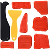 Kuuqa 9 Piezas Sellador de Silicona Herramientas de Acabado Suavizante Kit de Herramientas para Calafateo para Cocina Baño Sellado de Piso, Rojo