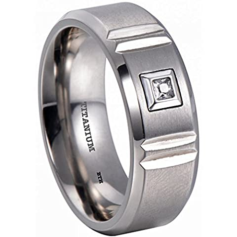 Mens Titanium 8mm Cubic Zirconia Wedding Engagement Comfort Band Ring W