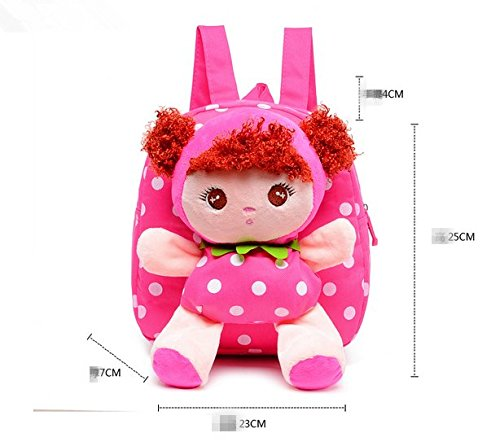 51Q8414qLwL - Moolecole Cartoon Cute Doll Mochila Toddler Girls Mochila de felpa mochila Sidekick mochila