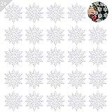 ASANMU Weihnachten Schneeflocken, 24 Stück Glitter Schneeflocken Deko Plastik Aufhängen Weihnachtsbaum Hängende Ornamente Schneeflocke Weihnachtsbaumschmuck Weihnachtsdeko Fensterdeko (Weiß, 10 cm)