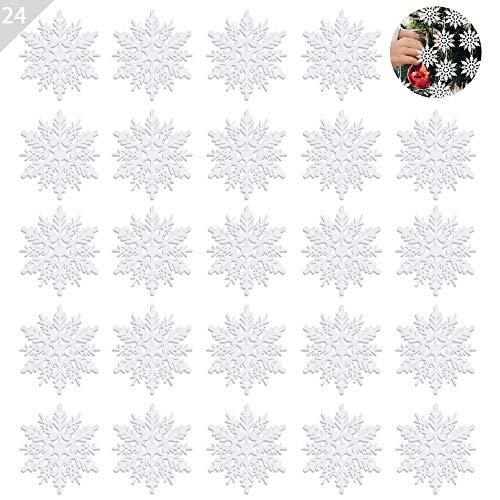 ASANMU Weihnachten Schneeflocken, 24 Stück Glitter Schneeflocken Deko Plastik Aufhängen Weihnachtsbaum Hängende Ornamente Schneeflocke Weihnachtsbaumschmuck Weihnachtsdeko Fensterdeko (Weiß, 7.5 cm) -