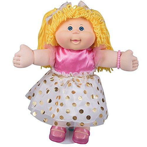 Cabbage Patch Kids Pelo de lana vintage retro estilo muñeca rubia de ojos cabello/azul Original, 16' Amazon exclusivo fácil-a-Abra envases