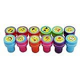 Lalang 12pcs Tampons à encre auto-encrage les enseignants cadeaux timbres jouets stickers enfants emoji tampon encreur