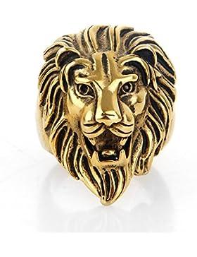 COPAUL Schmuck Herren Edelstahl Ring Löwe löwenkopf Schwarz Silber Gold Größen 54 (17.2) - 75 (23.9)
