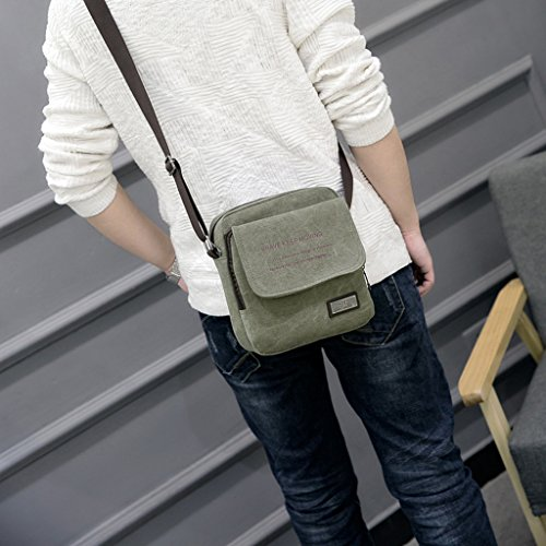 Super moderno uomo piccolo tela vintage messenger bag a tracolla confezione organizzatore cartella mini multi-pocket Sling borsa a tracolla, Uomo, Black Green