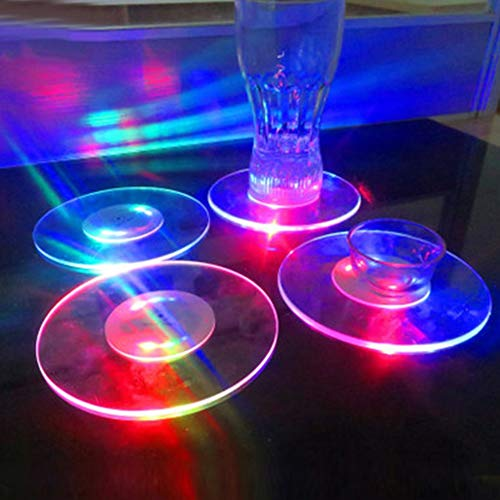 CFPacrobaticS Runde/quadratische bunte LED Blitzlicht Tasse Mat Untersetzer Bar Restaurant Decor Runden (Quadratisches Mat Bild)