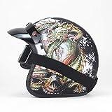Helm Motorrad Retro Open Face Retro Racing Motorradhelm Mit Schutzbrille Maske LW Mattschwarz 3 XL