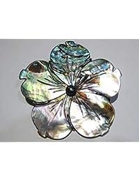 brooch + pendant blue shell flower silver 925%
