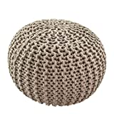 CC Moderner Sitzpouf Sitzwürfel Handgefertigt Baumwolle Grobstrick Beige/Creme 50x30cm, Farbe:Beige