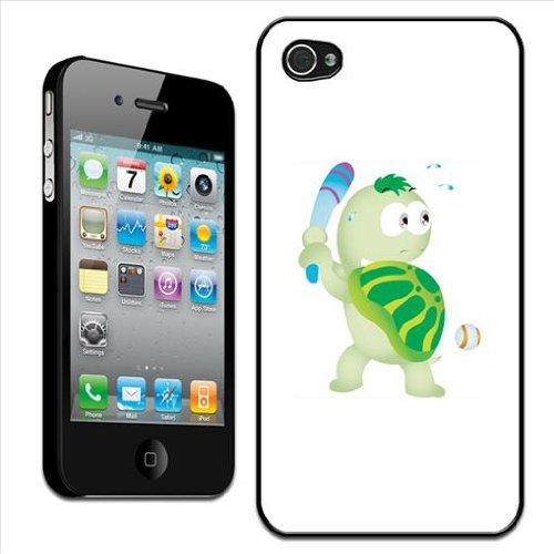 Fancy a Snuggle - Cover posteriore rigida clip on per Apple iPhone 4/4S, motivo tartaruga nervosa gioca a baseball, colore: Bianco/Verde