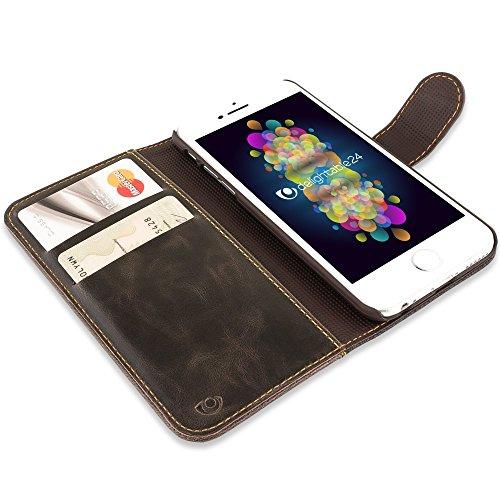 iPhone 6 6S Hülle Klapphülle von NICA, Slim Flip-Case Kunst-Leder Vegan, Phone Etui Schutzhülle Book-Case, Dünne Vorne Hinten Handytasche Wallet Bumper für Apple iPhone 6S 6 - Schwarz Braun