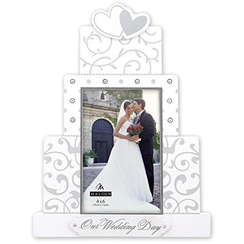Malden International Designs Our Wedding Day Wedding Collection Bilderrahmen, 4 x 6, weiß
