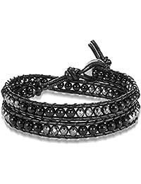 Rafaela Donata Damen-Armband Leather Collection Leder schwarz Achat schwarz Hämatit silberfarben