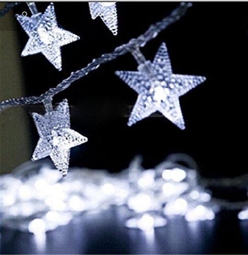 Eplze Lumières LED de Fée Fonctionnant sur Batterie 5m 40led Belle étoile sur Câble Transparent 2 Modes de Travail pour la Maison Anniversaire Mariage Intérieur Extérieur Utilisation (Blanc)