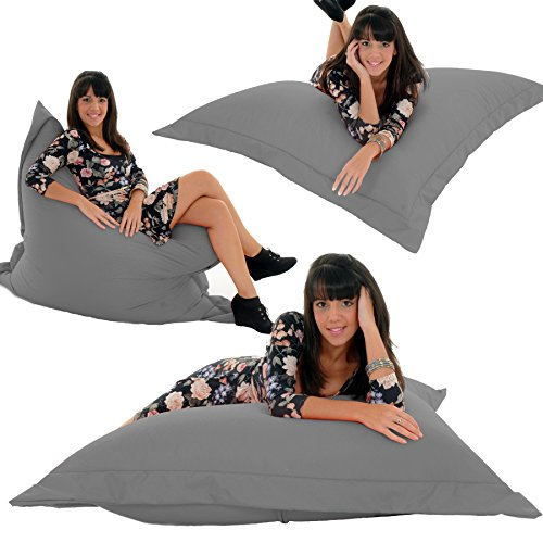 RAVIOLI GIANT   GREY Bean Bag Chair Indoor / Outdoor Beanbag Floor Cushion