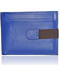 Al Fascino® Stylish Blue PU Leather Wallet/Purse For Men, Strap On Closure With Top Detachable Card Holder To...
