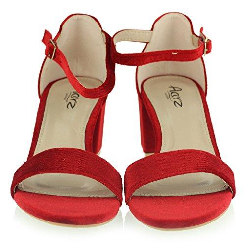 Frau Damen Samt Offener Zeh Fesselriemen Mittel Blockabsatz Abend Leger Formale Party Sandalen Schuhe Größe Rot