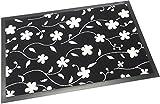 Schmutzfangmatte / Fußmatte 40 x 60 cm, Fußabstreifer Floralia, mit schönem Blumenmotiv: Blüten, schwarz/weiß, 2 Größen & 3 Motive wählbar