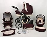 3in 1Kombikinderwagen bordeaux mit Kinderwagen + Babyschale + Autositz + Wickeltasche + Gratis Sonnenschirm