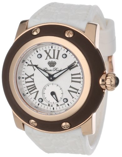 Glam Rock Women's Miami 46mm White Silicone Band Rose Gold Plated Case Swiss Quartz Analog Watch GR30016MW