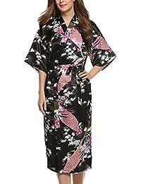 Dolamen Mujer Albornoz Vestido Kimono Satén, Camisón para mujer, Pavo & Flores Robe Albornoz