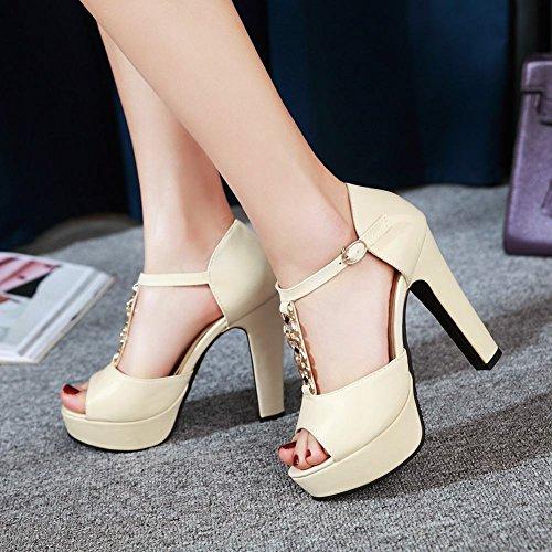 Mee Shoes Damen high heels Peep toe Plateau Sandalen Beige