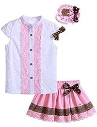 Lajinirr Niñas Manga de Soplo niños Camisetas de Flores y Faldas de niña de impresión Arco