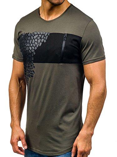 BOLF Herren T-Shirt Tee Kurzarm Rundhals Slim Fit Long Party Classic 3C3 Motiv Grün