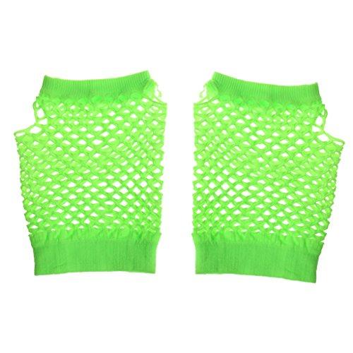 Gazechimp Fingerlose Netzhandschuhe Kurz Kostüm - Fluoreszierend Grün, 12 cm