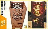 Metallmichl Edelrost Fussball FC Bayern Feuerkorb Fan-Artikel quadratisch Rekordmeister, FCB Feuerschale aus rost Metall für Garten und Terasse